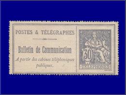 FRANCE Téléphone * - 17, Beau: 30c. Brun Noir/lilas - Cote: 165 - Telegraph And Telephone