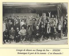 Carte Photo Animée CLUB De SKI  Années 30 - Annoté Groupe De Skieurs Au Champ Du Feu - La Broque
