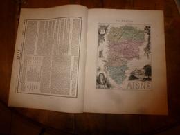 1880 :AISNE (Laon,Chateau-Thierry,St-Quentin,Soissons )Carte Géographique-Descriptive:grav.taille Douce-Migeon,géographe - Geographische Kaarten