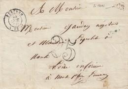 LETTRE. 1850. FINISTERE. PLEYBEN. ORIGINE RURALE OR = LE MOAL POUR NANTES TAXE TAMPON 25 - Marcophilie (Lettres)