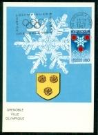 CM-Carte Maximum Card # 1967-France # Jeux Olympiques D'Hiver Grenoble, Obl. Flamme - Cartes-Maximum