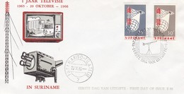 Suriname FDC 20-10-1966 Complete Set Introduction Of Television - Surinam ... - 1975