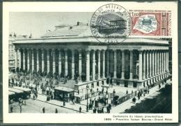 CM -Carte Maximum Card #1966-France # Architecture # Centenaire Du Réseau Pneumatique # Paris Bourse # Paris - Cartes-Maximum