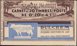 FRANCE Carnets  190-C1, Série 9, Dulcrem, Cd. 20/5/37 + Numéro: 20c. Semeuse - Carnets