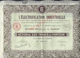 ACTION L ÉLECTRIFICATION INDUSTRIELLE NOTAIRE M AUBRON NOTAIRE À PARIS : - Actions & Titres