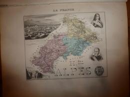 1880:HAUTES-ALPES (Gap,Aiguille,Savine,Embrun,Briançon,etc) Carte Géographique-Descriptive:grav.taille Douce Par Migeon. - Cartes Géographiques