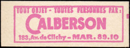 FRANCE Carnets  1331-C2, Série 102-63, Calberson: 0.25f. Coq De Decaris - Usage Courant