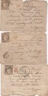 3 LETTRES. 1873. CANTAL MAURIAC. P.D. POUR CHARLEROY VILLE-HAUTE BELGIQUE - Marcophilie (Lettres)