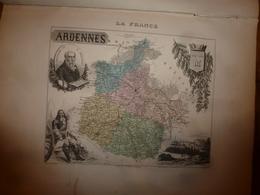 1880:ARDENNES (Mézières,Réthel,Rocroi,Sedan,Vouziers,etc) Carte Géographique-Descriptive:grav.taille Douce Par Migeon. - Geographische Kaarten