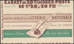 FRANCE Carnets  517-C2, Série 63, Cd. 20/3/43, (Couverture Légèrement à Cheval): 1f.50 Pétain: Secours National 4 Fois - Definitives