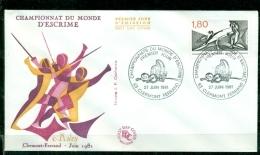 FDC  # France-1981 # Sport #Escrime,Fechten-WM,fencing,world Championship,Clermont-Ferrand - Escrime