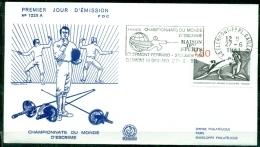 FDC  # France-1981 # Sport #Escrime,Fechten-WM,fencing,world Championship,obl. Flamme Clermont-Ferrand - Escrime