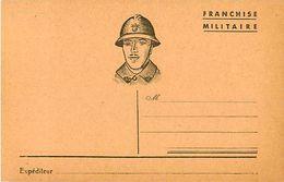 Carte Franchise Militaire, Soldat Casqué - Marcophilie (Lettres)