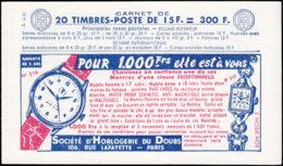 FRANCE Carnets  1011-C21, Série6-56: 15f. Muller Rouge, Poste (Barres)-Bic-Provins-Bic Tour Eiffel*/montre*/télé*/rose* - Carnets