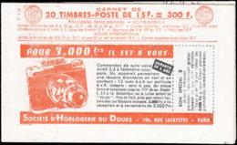 FRANCE Carnets  1011-C12, Série 1-56, Cd. 25/2/56 Avec N°: 15f. Muller Rouge, Hahn-Bic-Hahn-Bic Photo*/mixer*/rose* - Carnets