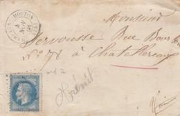 LETTRE. 1868. CANTAL CHAMPAGNE-MOUTON. GC 857. POUR CHATELLEREAUX - Marcophilie (Lettres)