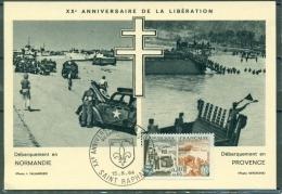 CM- Carte Maximum Card # 1964-France#Histoire #Guerre,war # Libération,Débarquement En Normandie-Provence#SAINT-RAPHAEL - Cartes-Maximum