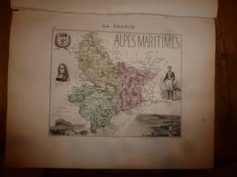 1880:ALPES MARITIMES (Nice,Grasse,Puget-Théniers,Breil,etc) Carte Géographique-Descriptive:grav.taille Douce Par Migeon. - Cartes Géographiques