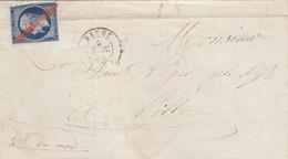 LETTRE. 1856. MAINE-ET-LOIRE. BAUGÉ. N° 14 ANNULÉ CRAYON ROUGE. POUR LILLE - Marcophilie (Lettres)