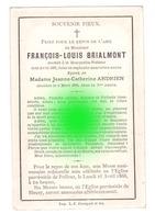 BOUQUETTE POLLEUR 1887 François Louis BRIALMONT époux ANDRIEN  Imprimé Chez Crouquet à Verviers - Décès