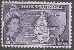 Montserrat. 1953-62 QEII. ½c MH (type I). SG 136a - Montserrat