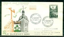 FDC  # 1957-France # Sites Et Monuments # Architecture # Beffroi,pont, Belfry ,bridge ,Le Quesnoy (Edit. Coq) - FDC