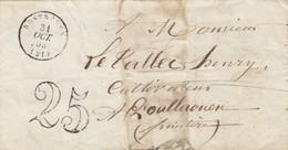 LAS. 18453. COTE-DU-NORD. ROSTRENEN POUR POULHAOUEN FINISTERE. TAXE TAMPON 25 - Marcophilie (Lettres)