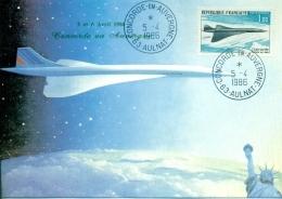"""CM-Carte Maximum Card # France-1969 #Transports # Avion Supersonique, Airliner  """"CONCORDE"""" En Auvergne,Aulnat 1986 - Cartes-Maximum"""