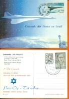"CM-Carte Maximum Card # France-1969 #Transports # Avion Supersonique, Airliner  ""CONCORDE""  Vol En Israel 1985 - Cartes-Maximum"