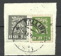 Estland Estonia 1928 Briefstück Mit Michel 74 & 75 O Tallinn - Estland
