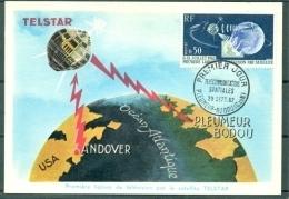 CM-Carte Maximum Card # France-1962 # Espace-Space-Raumfahrt #Télécom # Satellite  Telstar # Pleumeur-Bodou - Cartes-Maximum