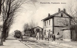 Warmeville  54   La Gare -Depart D'un Train Et Le Quai Tres Tres Animé - Frankrijk