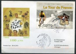 """Frankreich 2003 Sonderbeleg Tour De France M. Mi.Nr.3724 Und SST""""Tour DE France,69 Lyon"""" 1 Karte - Radsport"""
