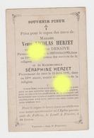 POLLEUR Décès De Vve Nicolas HERZET Née DESAIVE 1893 Et Séraphine HERZET 1891 / Imprimé à Verviers - Décès