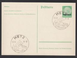 Deutsches Reich Besetzung Lothringen Postkarte Ganzsache P1 1940 Sonderstempel Metz Ungelaufen Lot 951 - Ganzsachen