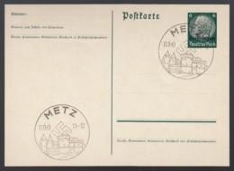 Deutsches Reich Besetzung Lothringen Postkarte Ganzsache P2 1940 Sonderstempel Metz Ungelaufen Lot 952 - Ganzsachen