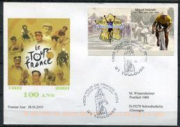 """Frankreich 2003 Sonderbeleg Tour De France M. Mi.Nr.3725 Und SST""""Tour DE France,31 Toulouse """" 1 Karte - Radsport"""