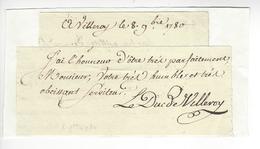 Gabriel Louis François De Neufville De Villeroy (1731-1794) 1780 AUTOGRAPHE ORIGINAL AUTOGRAPH /FREE SHIP. R - Autographes
