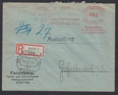 Deutsches Reich Einschreiben Firmen-Brief Postauftrag 1932 Stettin  Nach Großröhrsdorf Lot 1040 - Deutschland