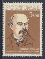 """Portugal 1964 Mi 973 YT 954 Sc 941 SG 1259 ** Eduardo Coelho, Journalist - """"Diario De Noticias, Newspaper / Zeitung - Andere"""