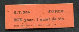 """WW2 Rare Jeton Carton Militaire """"G.T.504 Groupe De Transport 504 / Bon Pour 1 Quart De Vin / Foyer"""" WWII - Monétaires / De Nécessité"""