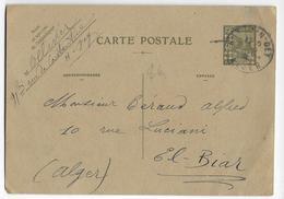ALGERIE - 1936 - CARTE ENTIER POSTAL De HUSSEIN-DEY => EL BIAR - Algérie (1924-1962)