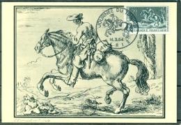 CM- Carte Maximum Card # 1964-France # Journée Du Timbre#Tag Der Briefmarke #courrier à Cheval,Postreiter,post Cavalier - Cartes-Maximum