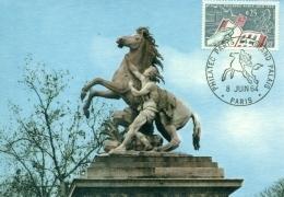 CM-Carte Maximum Card # 1963-France #Expo Philatélique # Philatelic Exhibition Philatec´64 # Art-Statue,Horse # Pa - Cartes-Maximum
