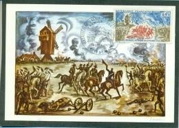 CM-Carte Maximum Card # France-1971 # Histoire #Battle , Bataille De Valmy ,Windmill,Moulin à Vent # Valmy  (Decaris) - Cartes-Maximum