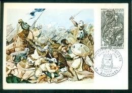 CM-Carte Maximum Card # 1967-France # Histoire # Philippe Auguste ,roi De France,  Bataille De Bouvines# Bouvines - Cartes-Maximum
