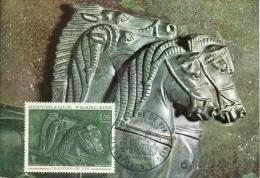 CM - Carte Maximum Card #1966-France # Art # Bronze #Cràtere En Bronze De Vix,tombe ,cheval,Pferd,horse # Chatillon S/S - Cartes-Maximum