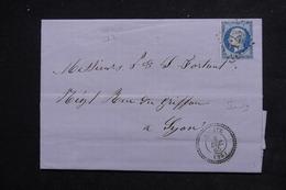FRANCE - Lettre De Aouste Pour Lyon En 1865 , Oblitération GC 123 , Cachet à Date Perlé - L 22939 - Marcophilie (Lettres)