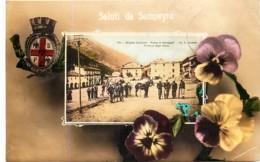 Italia- Coni - Saluti Da Sampeyre - BorgataGagliardi - Piazza Di Sampeyre - Partenza Degli Alpini - Italie