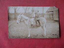 RPPC  Boy & Girl On Mule      -    Ref 3163 - Dogs